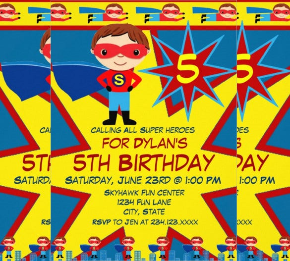 Blue Kids Superhero Birthday Invitation