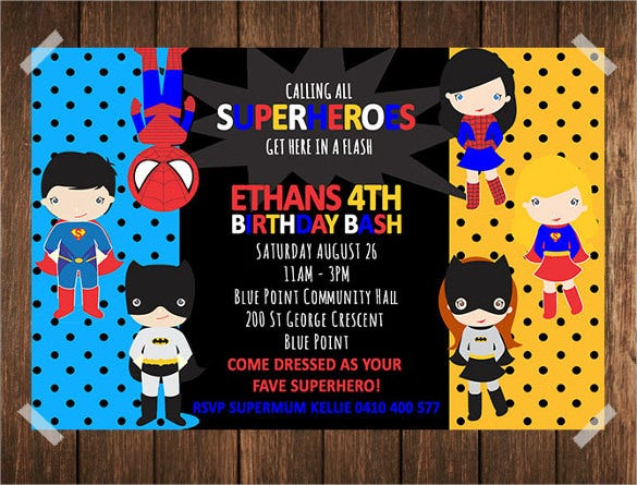 Superhero Birthday Invitation Templates Free Sample Example - Birthday invitation images download