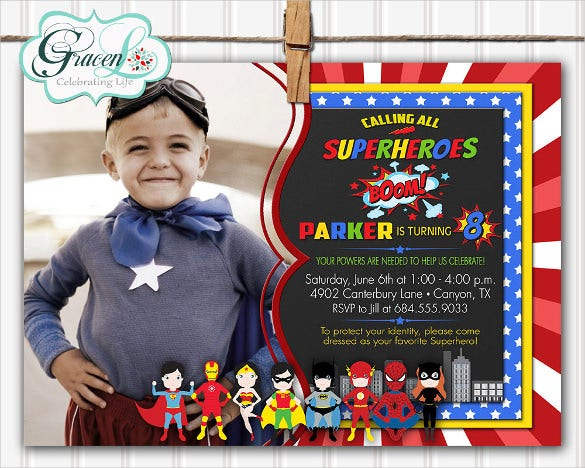 superhero birthday invitation with photograph