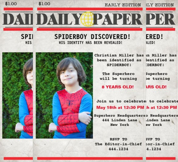 newspaper based superhero birthday invitation