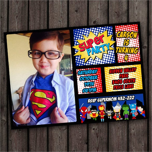 creative superhero birthday invitation with custom photograph