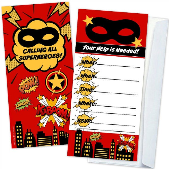 flat two sided design red superhero birthday party invitation