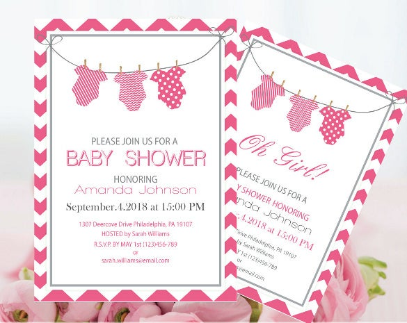 Onesie Invitation Template Peellandfmtk - Pink baby shower invitation templates