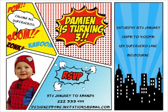 image relating to Free Printable Super Hero Invitations called 30+ Superhero Birthday Invitation Templates - PSD, AI Cost-free