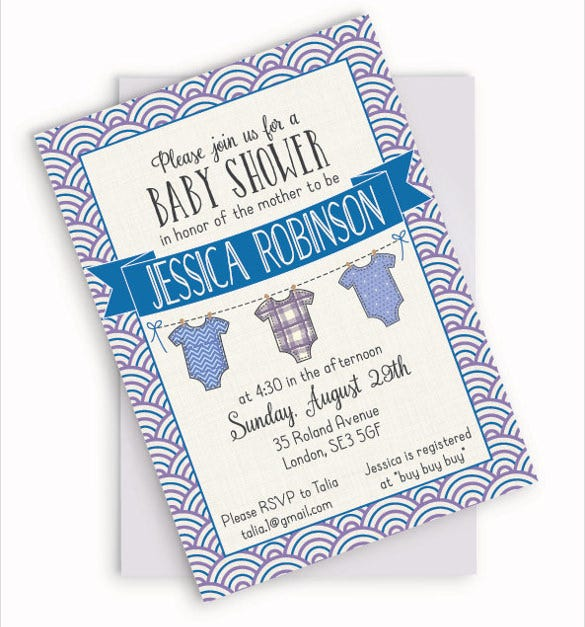 onesie baby boy shower invitation customizable invite blue cream