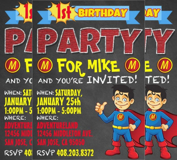 Superhero Birthday Invitation Paper Card