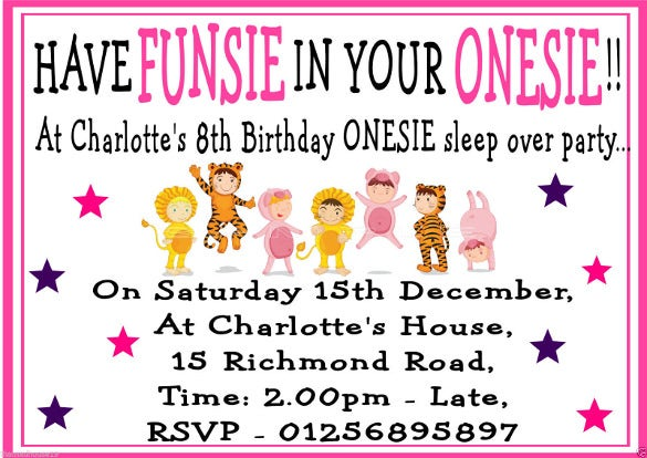 personalised girls sleepover sleep overonesie fancy dress party invitations