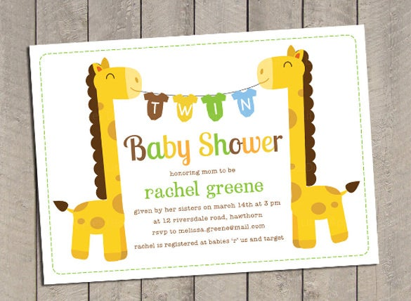 twin baby shower invitation twin giraffe baby shower invitation