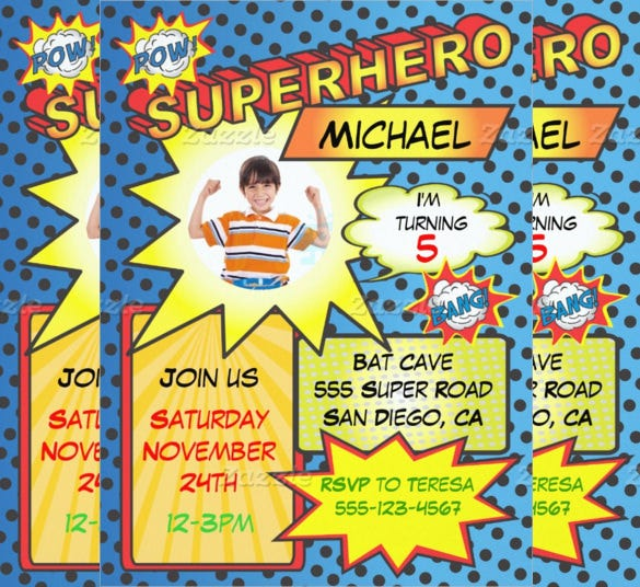 comic book style superhero birthday invitation