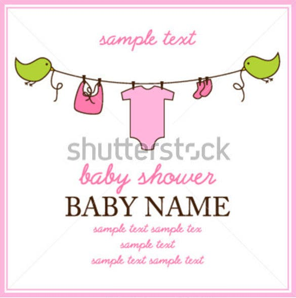 square baby shower invitation or birth announcement