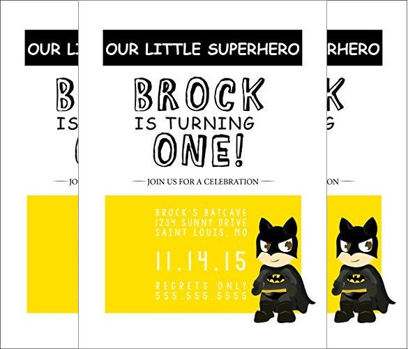 cute and beautiful toddler batman superhero birthday invitation