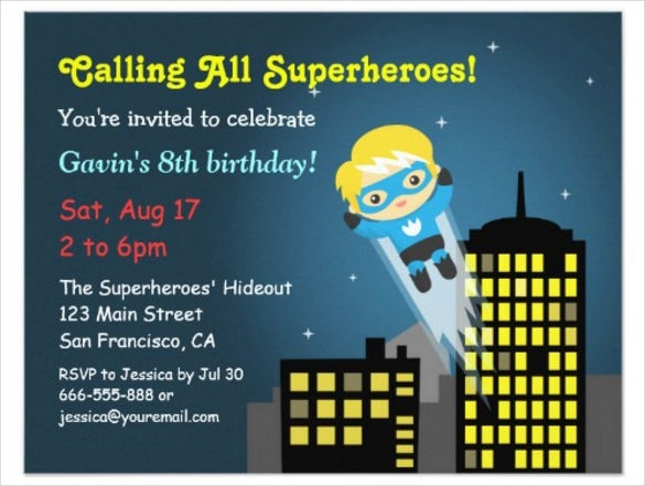 cute blue flying superhero birthday invitation template