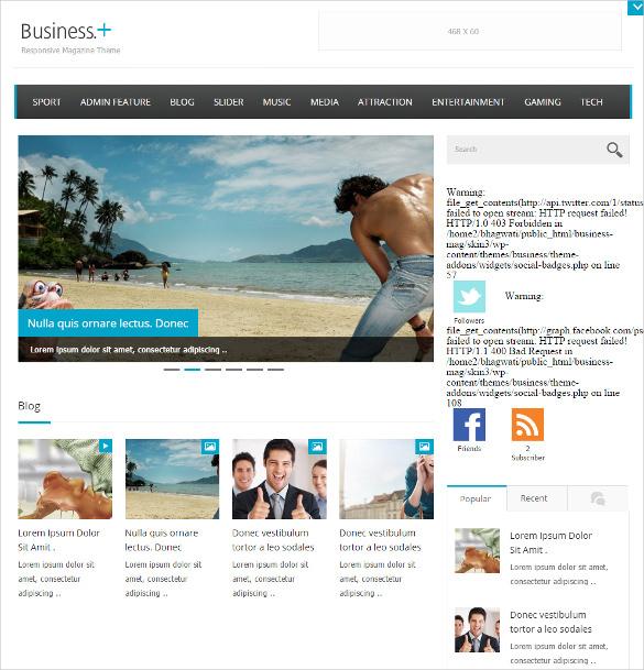 pretty business magazine wordpress template