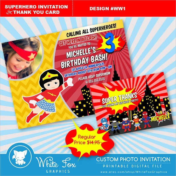 Printable Superhero Birthday Invitation For Girls Digital File