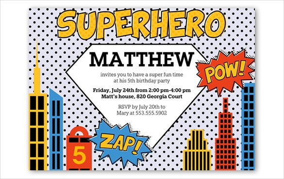 white dotted super hero birthday invitation template