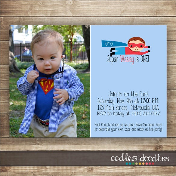 custom photograph superhero birthday invitation printable template