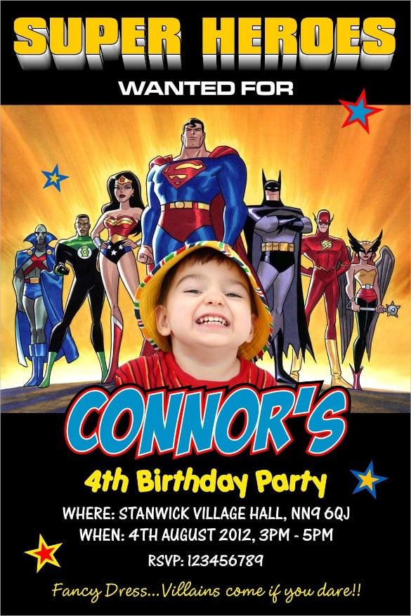 21 Superhero Birthday Invitation Templates Free Sample Example – Superhero Birthday Invitations Free Printable