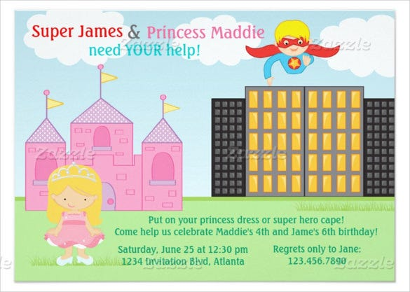 princess superhero twins birthday invitation card