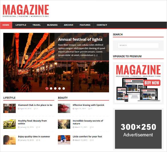 free premium magazine wordpress theme