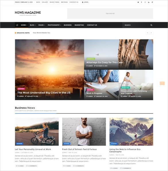 impressive news magazine wordpress theme