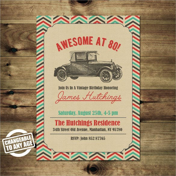 Vintage Car Themed 80th Birthday Invitation