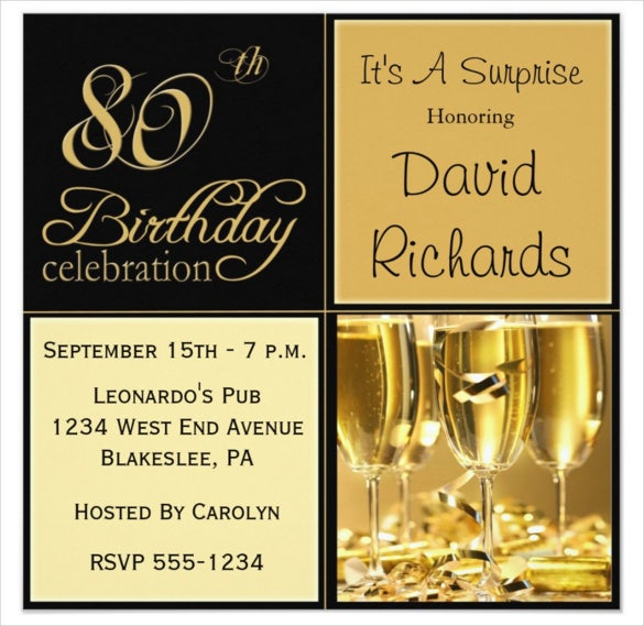 Wine Gold Colour Surprise 80th Birthday Party Invitation