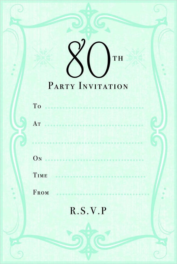 Green 80th Birthday Party Invitation Template  Birthday Party Card Template