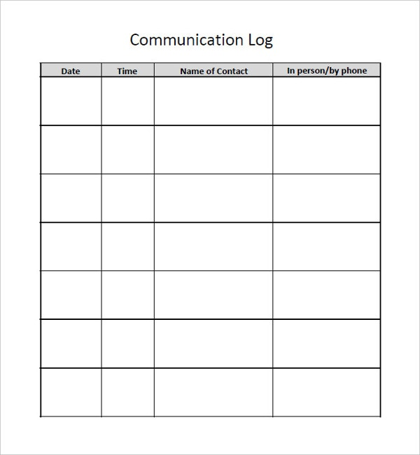 Communication Log Template   Free Word Pdf Documents Download
