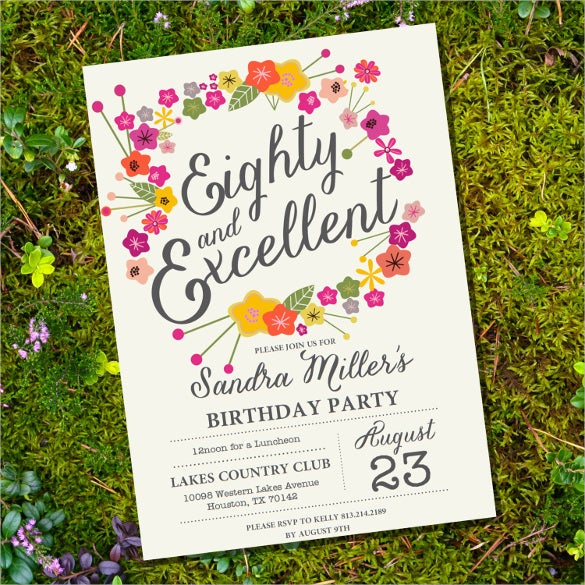 Elegant And Beautiful Floral 80th Birthday Invitation