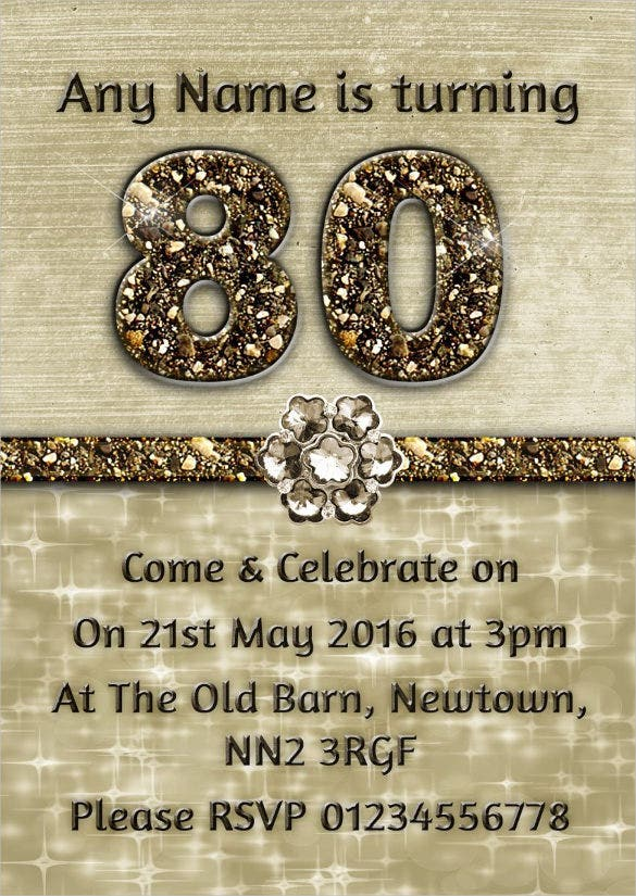 Personalised Titanium Gold Sparkly 80th Birthday Party Invitation