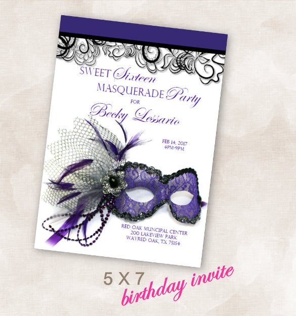 birthday party invite invitation sweet sixteen masquerade birthday party