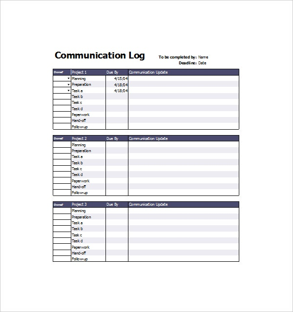 Project Communication Log Template For Project Log Template