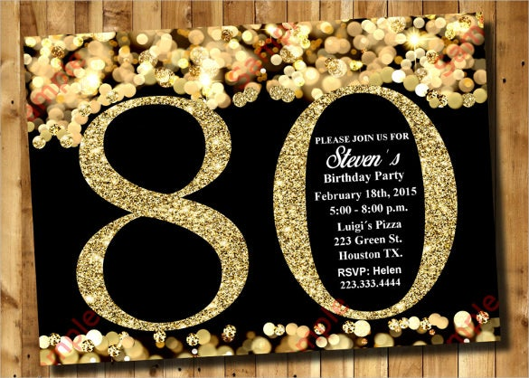 Gold Glittered 80th Birthday Invitation