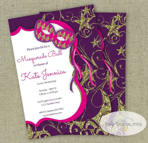 Masquerade Invitation Template 24 Free PSD Vector EPS AI – Ball Ticket Template