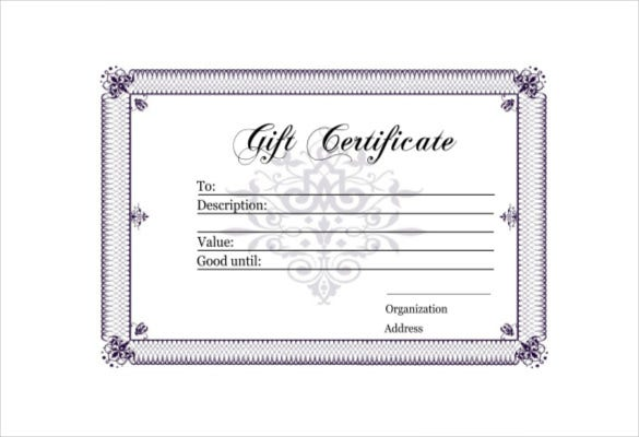 blank gift certificate template 13 free word pdf documents download free premium templates. Black Bedroom Furniture Sets. Home Design Ideas