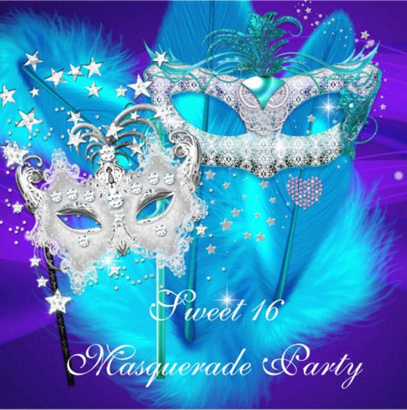 Masquerade Invitation Template 24 Free PSD Vector EPS AI – Sweet 16 Party Invitations Templates Free