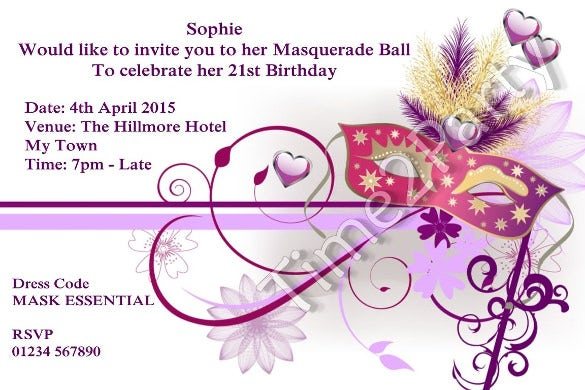 personalised masquerade ball invitations mask birthday party invites