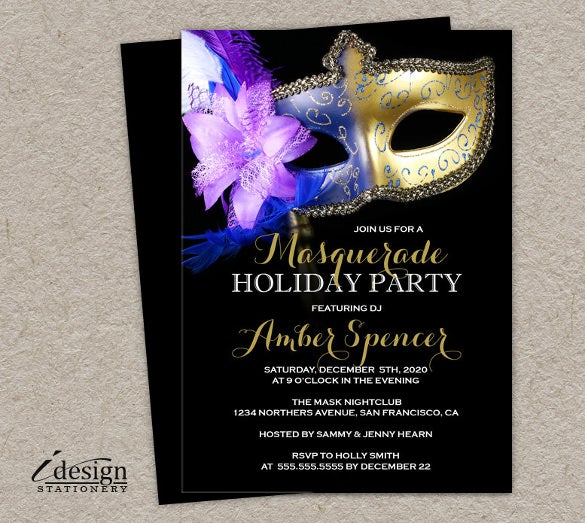 masquerade holiday party invitation personalized diy printable mardi gras 1