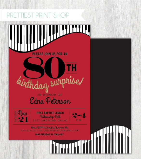 Piano Theme Red 80th Birthday Invitation Template