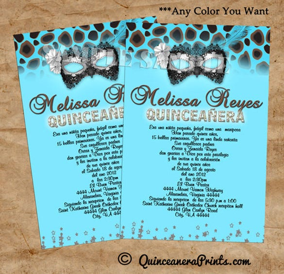 leopard mask invitations birthday party quinceanera