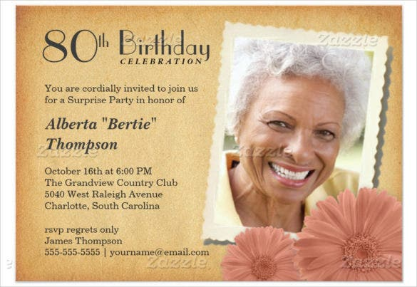 Vintage Daisy 80th Birthday Invitation For Old Women
