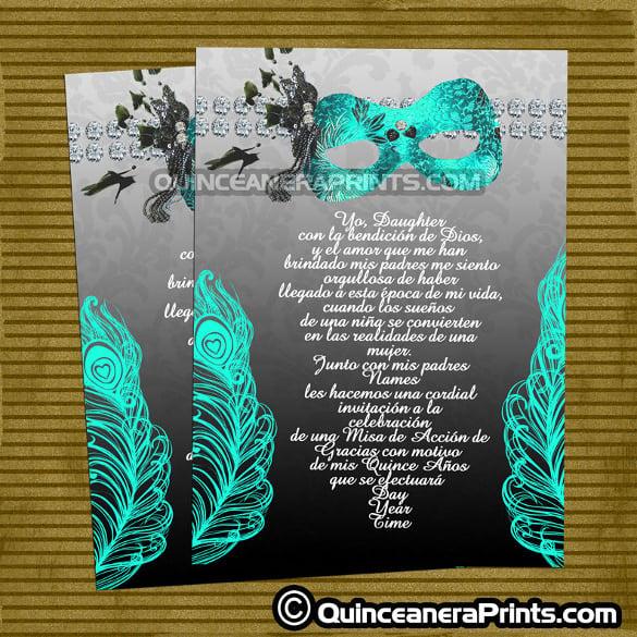 aqua masquerade invitations birthday party quinceanera