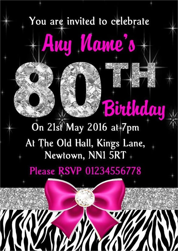 Pink Diamond And Zebra Print 80th Birthday Invitation