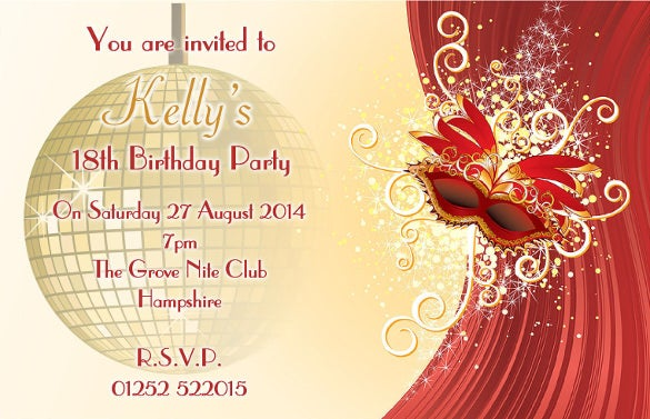 personalised masquerade mask birthday party invitations invites n95