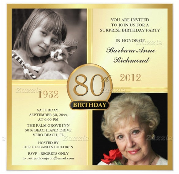 Gold 80th Birthday Invitations With Customizable Two Photos