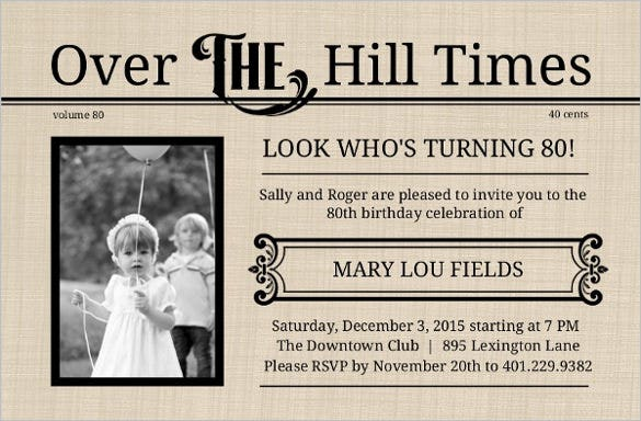 22 80th Birthday Invitation Templates Free Sample