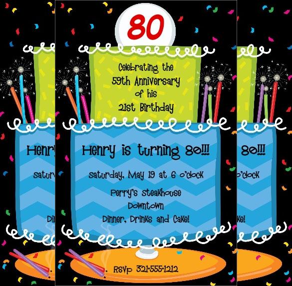 colourful cake design 80th bithday invitations