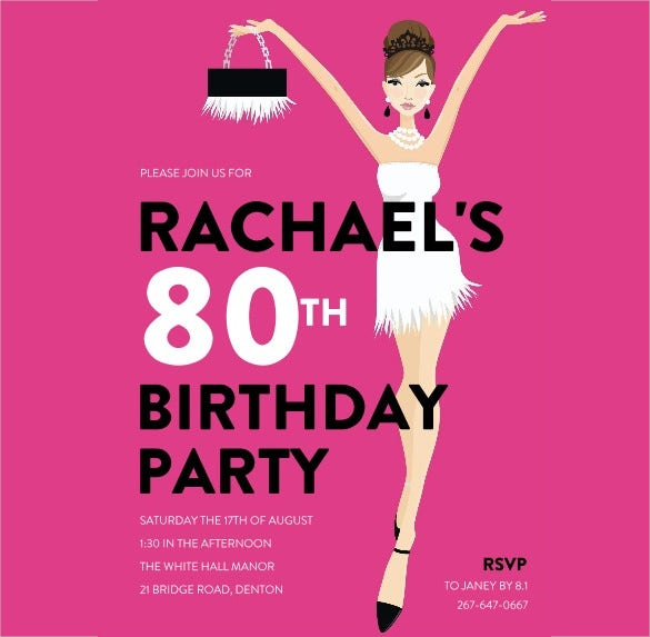 pink 80th bithday invitations for women