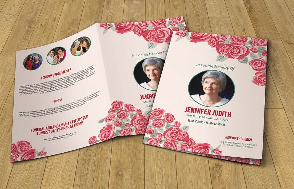 floral funeral program template printable memorial program