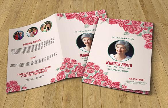 floral funeral program template printable memorial program